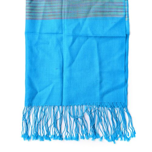 100% Wool Blue, Grey and Multi Colour Stripe Pattern Scarf with Tassels (Size 170X66 Cm)