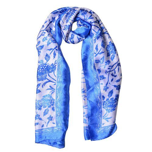Blue and White Colour Floral Pattern Scarf (Size 180X90 Cm)