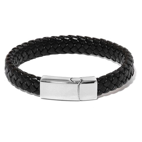 PU Leather Black Braided Bracelet (Size 8.5) with Stainless Steel Clasp