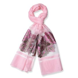 Pink and Green Colour Embroidered Peony Flower Pattern Scarf (Size 190x65 Cm)