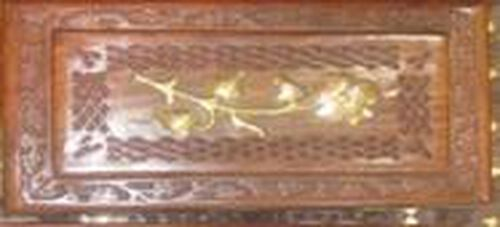 Brass Inlay Indian Rosewood Floral Carved Jewellery Box (Size 10x6x2.25 inch)