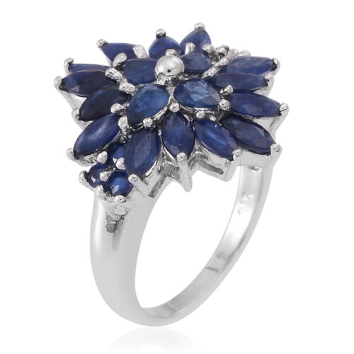 Kanchanaburi Blue Sapphire (Mrq) Cluster Ring in Rhodium Plated Sterling Silver 3.750 Ct.