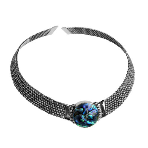 Limited Edition - Royal Bali Collection Abalone Shell (Rnd) Choker Necklace (Size 18) in Sterling Silver Weight 56 Grms.