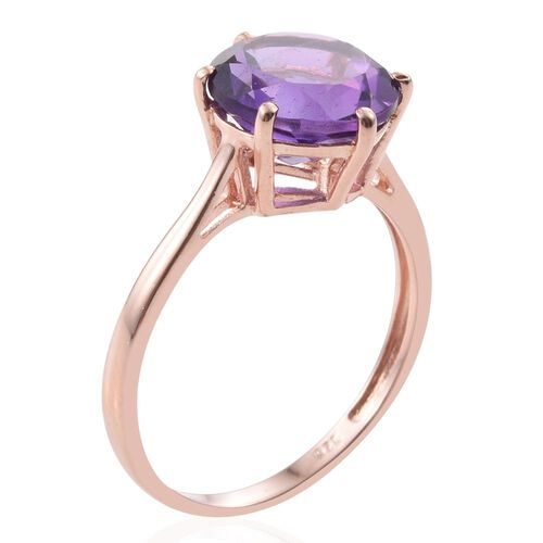 Amethyst 3.25 Ct Silver Solitaire Ring in Rose Gold Overlay
