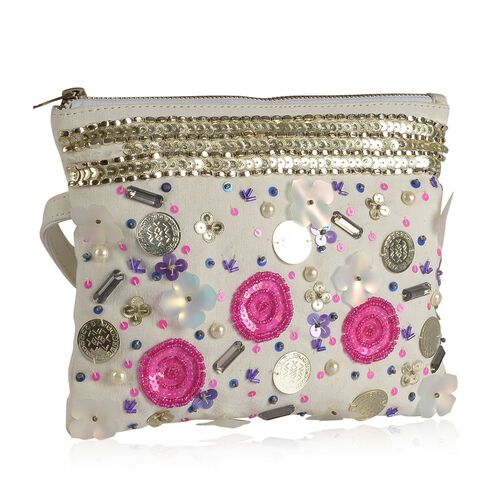 NEW SEASON Sequins Studded Floral Pattern Off White Colour Clutch (Size 16x21 Cm)