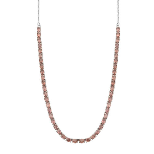 Malaya Garnet (Ovl) Necklace (Size 18) in Platinum Overlay Sterling Silver 9.000 Ct.