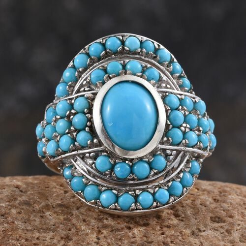 Arizona Sleeping Beauty Turquoise (Ovl 1.50 Ct) Ring in Platinum Overlay Sterling Silver 3.000 Ct.