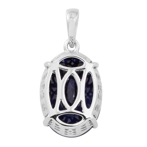 9K W Gold AAA Premium Size Madagascar Blue Sapphire (Ovl) Solitaire Pendant 7.500 Ct.