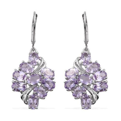 Rose De France Amethyst (Ovl) Lever Back Earrings in Platinum Overlay Sterling Silver 6.500 Ct.