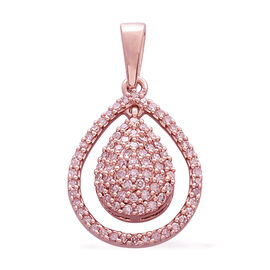 Limited Edition- 9K R Gold Natural Pink Diamond (Rnd) Tear Drop Pendant 0.330 Ct.