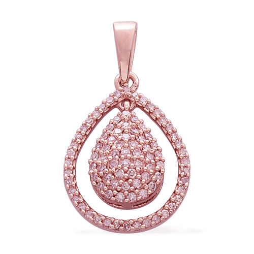 Limited Edition- 9K Rose Gold Natural Pink Diamond (Rnd) Tear Drop Pendant 0.330 Ct.