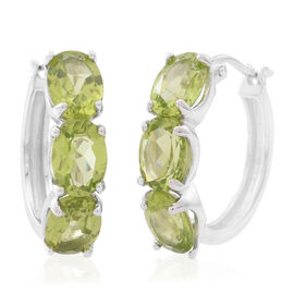 Hebei Peridot (Ovl) Hoop Earrings (with Clasp) in Rhodium Plated Sterling Silver 8.000 Ct.