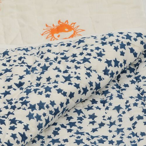 100% Cotton Hand Block Printed Dark Blue Colour Star and Yellow Colour Sun Pattern White Colour Quillow (Size 220x140 Cm)