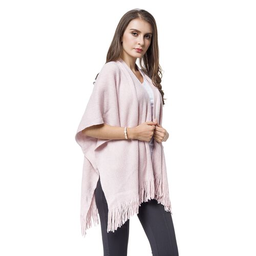Italian Designer Inspired-Pink and Silver Colour Kimono with Fringes (Size 90x65 Cm)