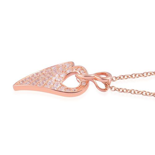 ELANZA AAA Simulated White Diamond (Rnd) Interlocking Heart Pendant With Rope Chain in Rose Gold Overlay Sterling Silver