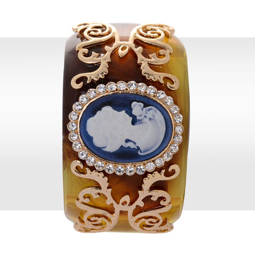 Cameo and White Austrian Crystal Bangle (Size 7.5) with Resin in Gold Tone