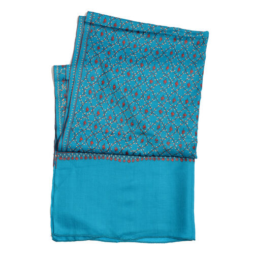 100% Merino Wool - Hand Embroidered Floral Pattern Kashmiri Turquoise Woollen Shawl (Size 200x70 Cm)