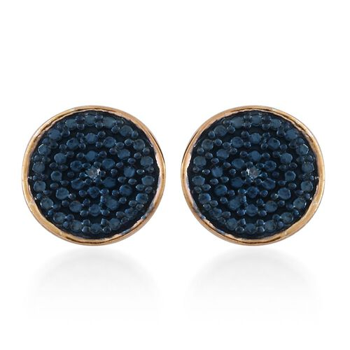 Blue Diamond Pave Disc Stud Earrings in Gold Overlay Sterling Silver