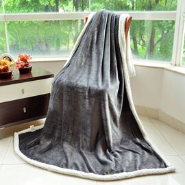Brand New - Superfine Microfibre Grey and White Reversible Double Layer Sherpa Blanket (Size 200X150 Cm)