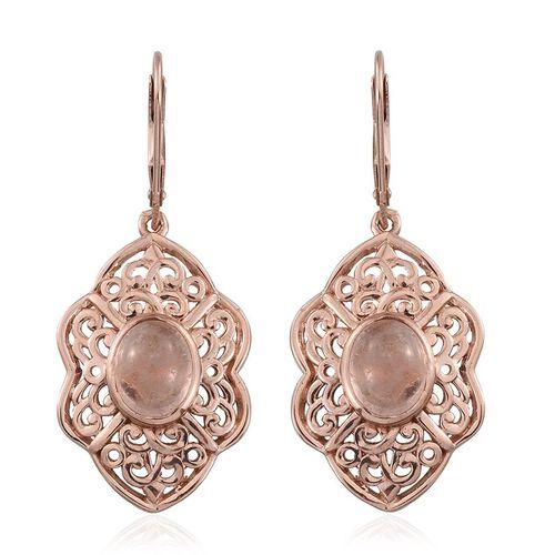 Marropino Morganite (Ovl) Lever Back Earrings in Rose Gold Overlay Sterling Silver 4.500 Ct.