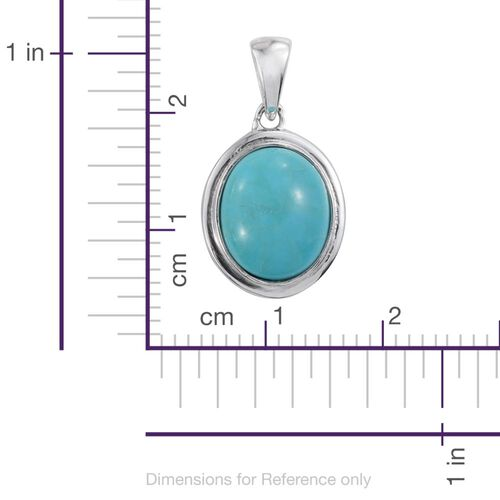 Arizona Blue Turquoise (Ovl) Solitaire Pendant in Platinum Overlay Sterling Silver 2.750 Ct.