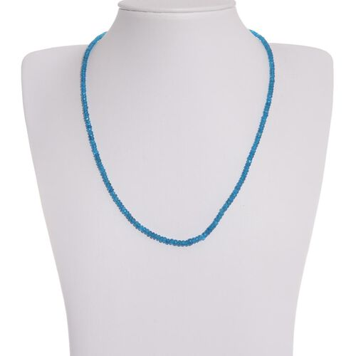 Jewels of India Malgache Neon Apatite Bead Necklace (Size 20) in  Platinum Overlay Sterling Silver 29.370 Ct.