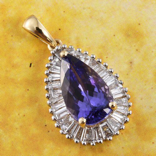 ILIANA 18K Yellow Gold AAA Tanzanite (Pear 3.42 Ct) Diamond (SI/G-H) Pendant 4.500 Ct.