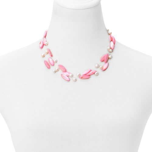 Designer Inspired-Pink Shell and Fresh Water White Pearl Triple Strand Necklace (Size 18) in Silver Tone