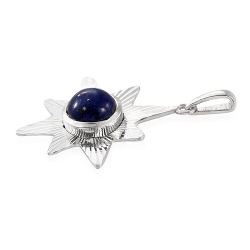 Artisan Crafted Afghan Lapis Lazuli (Rnd) Star Pendant in Sterling Silver