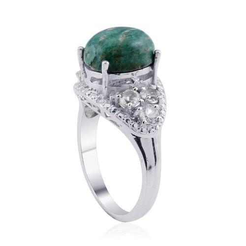 Russian Amazonite (Ovl 5.00 Ct), White Topaz Ring in Platinum Bond 6.150 Ct.