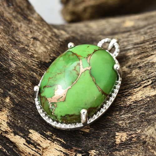 One Time Deal-Rare Size Mojave Green Turquoise (Ovl 22x16mm) Pendant in Sterling Silver 19.250 Ct.