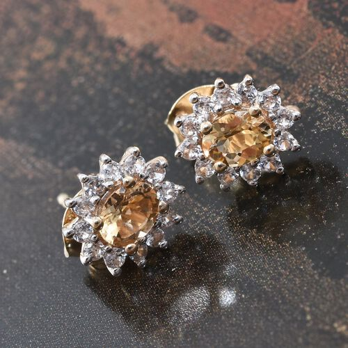 Super Auction- 9K Yellow Gold AAA Imperial Topaz (Ovl), Natural Cambodian Zircon Stud Earrings (with Push Back) 1.250 Ct.