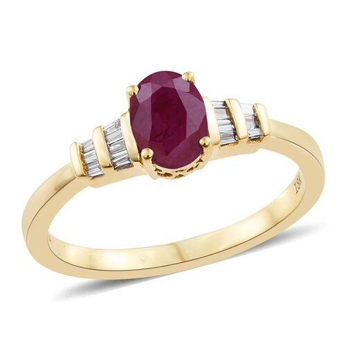 ILIANA 18K Yellow Gold 1.10 Ct. AAAA Pigeon Blood Burmese Ruby Ring with side Diamond SI/G-H