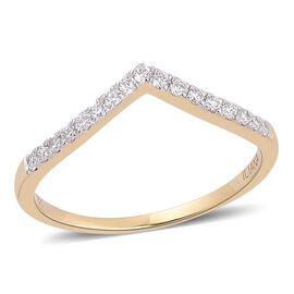 ILIANA 18K Yellow Gold 0.25 Carat IGI Certified Diamond SI G-H Wishbone Ring
