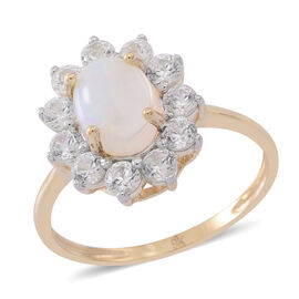 9K Y Gold Ethiopian Welo Opal (Ovl 1.00 Ct), Natural Cambodian Zircon Floral Ring 2.250 Ct.