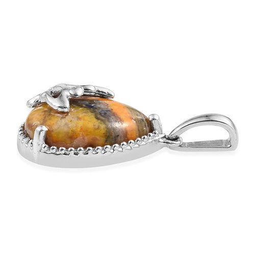 Bumble Bee Jasper (Pear) Pendant in Platinum Overlay Sterling Silver 6.250 Ct.