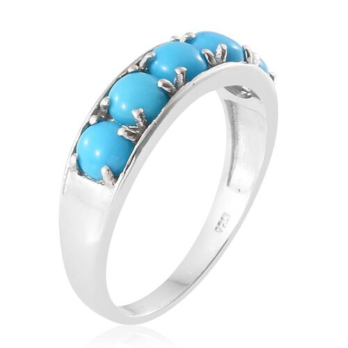 Arizona Sleeping Beauty Turquoise (Rnd) 5 Stone Band Ring in Platinum Overlay Sterling Silver 2.500 Ct.
