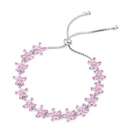 Designer Inspired - AAA Simulated Pink Sapphire Adjustable Floral Bracelet (Size 6.5-9) Silver Plated