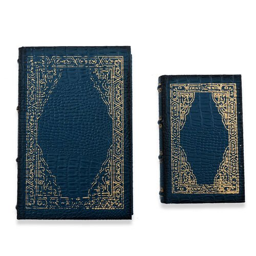 Set of 2 -  Blue Colour Croc Embossed Jewellery Box
