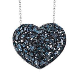 GP Blue Diamond (Bgt), Kanchanaburi Blue Sapphire Heart Pendant with Chain in Platinum and Black Rhodium Overlay Sterling Silver 1.020 Ct. Number of Diamonds 128