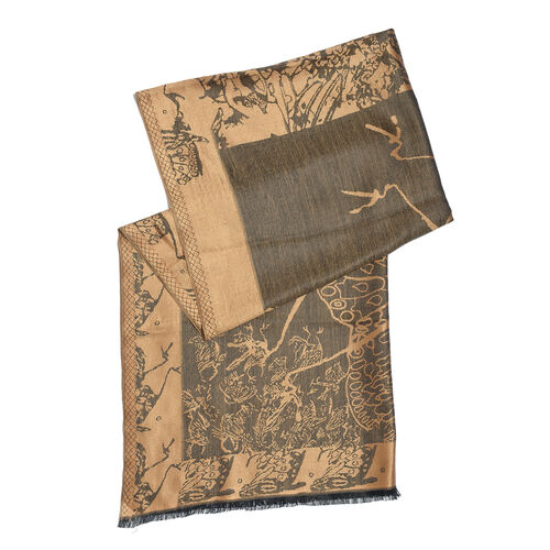 100% Superfine Silk Bronze and Brown Colour Jacquard Jamawar shawl (Size 180x70 Cm) (Weight 125-140 Grams)