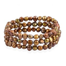 Double Shine - Fresh Water Chocolate Pearl Multi Strand Stretchable Bracelet (Size 7.5)