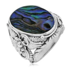 Royal Bali Collection Abalone Shell (Ovl) Floral Ring in Sterling Silver 5.000 Ct. Silver wt 8.50 Gms.