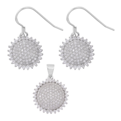 ELANZA AAA Simulated Diamond (Rnd) Pendant and Hook Earrings in Rhodium Plated Sterling Silver