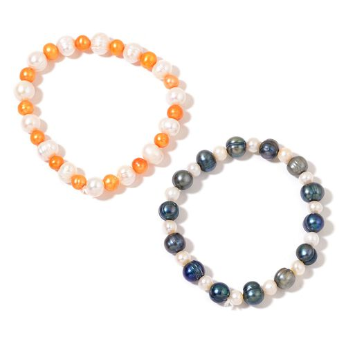 Set of 2 - Fresh Water White, Orange and Peacock Pearl Stretchable Bracelet (Size 6.5)