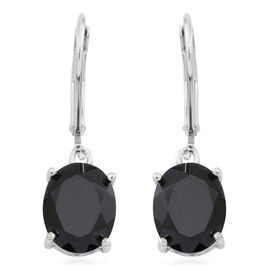 Boi Ploi Black Spinel (Ovl) Lever Back Earrings in Rhodium Plated Sterling Silver 6.500 Ct.