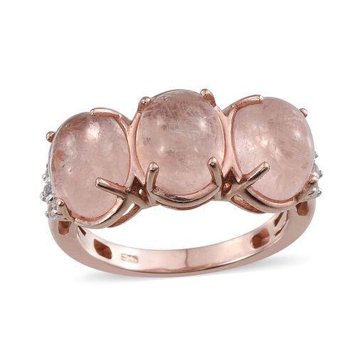 Marropino Morganite (Ovl), White Topaz Ring in Rose Gold Overlay Sterling Silver 5.750 Ct.