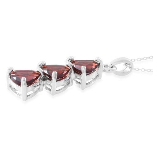 Mozambique Garnet (Trl) Trilogy Pendant with Chain in Rhodium Plated Sterling Silver 4.500 Ct.