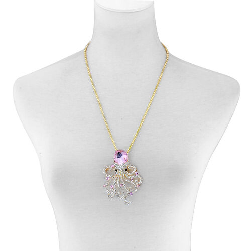 Simulated Pink Sapphire and Multi Colour Austrian Crystal Pendant with Chain in Gold Tone