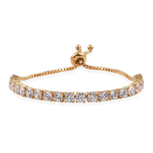 J Francis - 14K Gold Overlay Sterling Silver (Rnd) Adjustable Bracelet (Size 7.5) Made with SWAROVSKI ZIRCONIA, Silver wt 7.40 Gms.